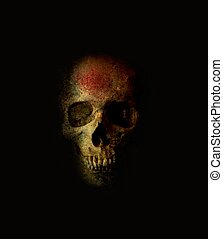 Scary skull with blood spray on black background