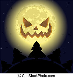 Scary smiling moon