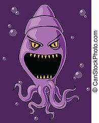Cute yet scary squid cartoon.