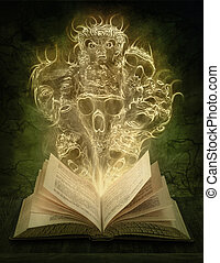 Magic book with scary stories