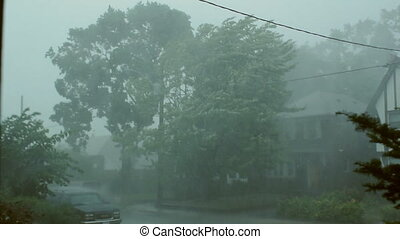 Very strong summer storm with close to hurricane force winds. Thunder and lightning. East York, Ontario, Canada.
