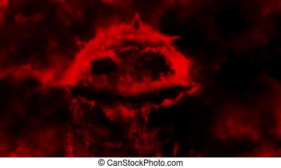 Scary thing skull with creepy smile. Dark 2D animation in horror fantasy genre. Dead demon face with open mouth. Spooky evil character head video clip. Red background color. Animated backdrop movie.