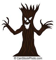 Scary tree cartoon character
