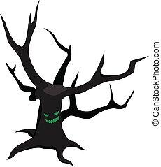 Scary tree icon, isometric style