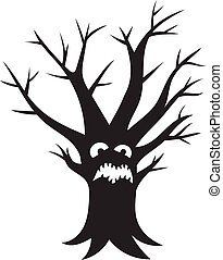 Scary tree icon, simple style