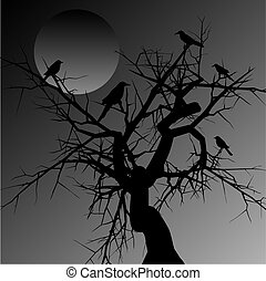 Silhouette of a scary tree with birds