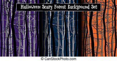 Scary Trees Branches Halloween Background Set. Night forest. Purple, orange, dark blue color. Deep mystery wood vector seamless pattern.