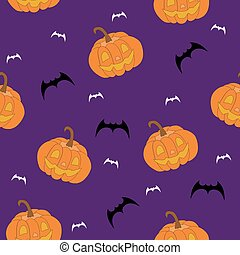 scary  vector seamless pattern with pumpkins and bats