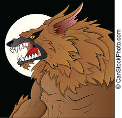 Creative Conceptual Design Art of Classic Werewolf Vector Illustration on Full Moon Night