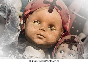 Scary white doll face