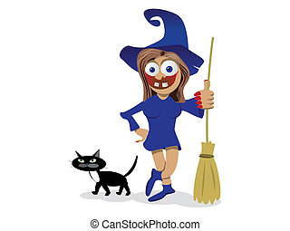 Scary witch and cat illustration