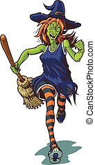 Scary Witch Running with Broom - Vector cartoon clip art...