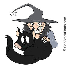 Scary Witch with Pet Cat Vector