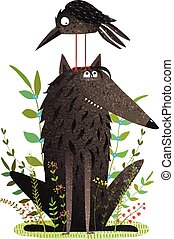Scary Wolf and Funny Crow in Forest