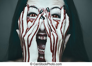 Scary woman in blood