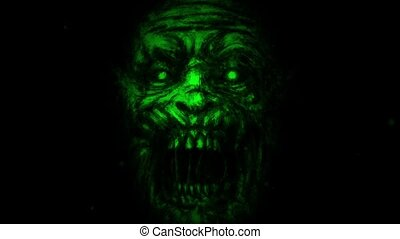 Scary zombie face on black background. Animation in genre of...