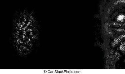 Scary zombie faces emerging from the dark. Animation in genre of horror. Black and white colors.