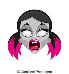 Scary zombie girl. Vector illustration Halloween.