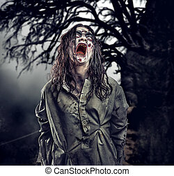 Scary zombie. Halloween. - Scary zombie against the...