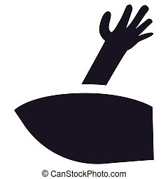 Scary zombie hand silhouette coming out from grave