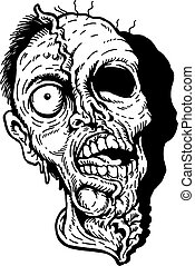 scary zombie head design used for horror signs or halloween decorations