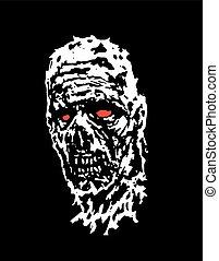 Scary zombie head. Vector illustration.