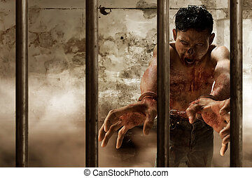 Scary zombie in prison