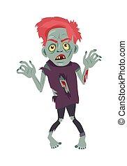 Scary Zombie Man Walking Flat Vector Illustration