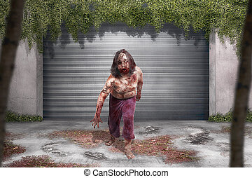 Scary zombie man with blood standing in front of old building