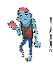 Scary Zombie Man with Brains Vector Illustration