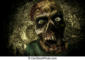 scary zombie - Close-up portrait of a horrible scary zombie...