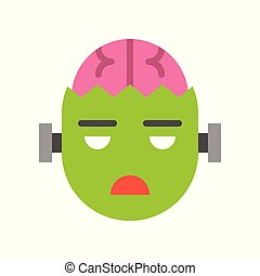 scary zombie with brain, halloween character set icon, flat design