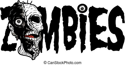 zombies - scary zombies design with zombie head and eyeball ...