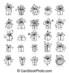 scatola, 25, regalo, icone, disegno, tuo
