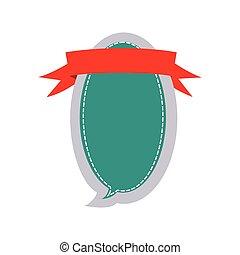 scatola, adesivo, disegno, dialogo, ovale, balloon, nastro