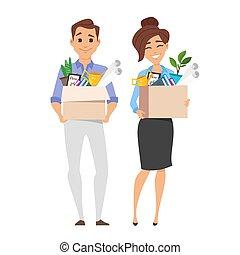 scatola, affari donna, riuscito, lavoro, roba, presa a terra, uomo affari, sorridente, cartone