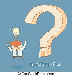 scatola, affari, successo, idea, esterno, uomo