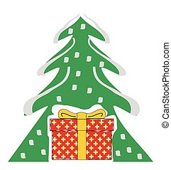 scatola, albero, regalo natale