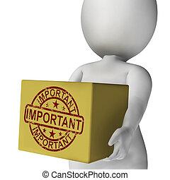 scatola, alto, prodotto, esposizione, consegna, importante, ...
