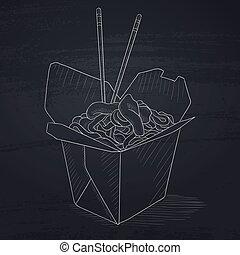 scatola, aperto, cinese, cibo., cavare