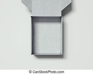 scatola, aperto, rendering., fondo, bianco, cartone, 3d