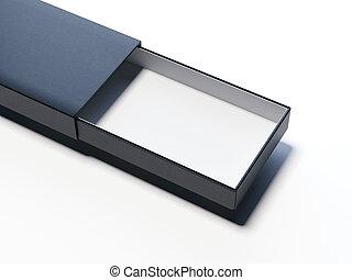 scatola, aperto, rendering., fondo, nero, bianco, cartone, 3d
