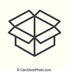 scatola, appartamento, aperto, disegno, icona, style., contorno