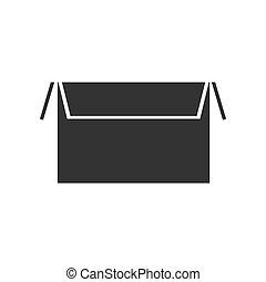 scatola, appartamento, aperto, icona