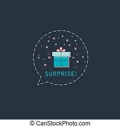 scatola, appartamento, card., regalo, balloon, augurio, vettore, fondo, sorpresa, vacanza, o, icona, design.