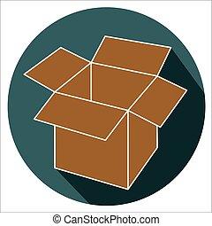 scatola, appartamento, disegno, cartone, aperto, icona