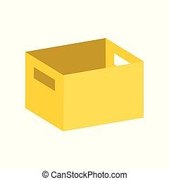 scatola, appartamento, manico, disegno, perfetto, pixel, vuoto, icona