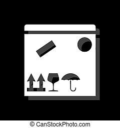 scatola, appartamento, pacchetto, icona