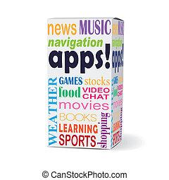 scatola, apps, prodotto, parola