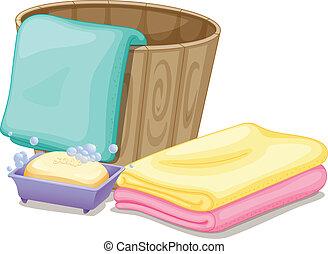 scatola, asciugamani, secchio, sapone